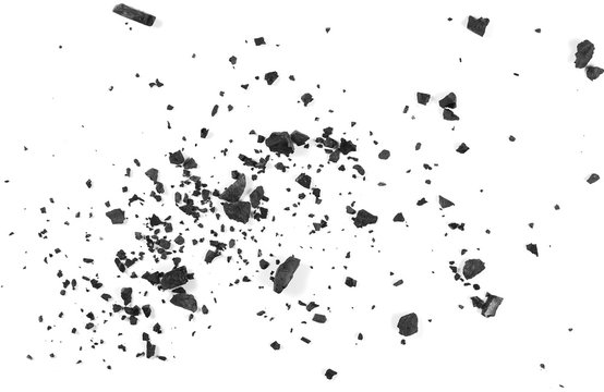 Black coal dust with fragments isolated on white background and texture, top view
