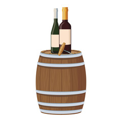 Wine bottles and corkscrew on barrel