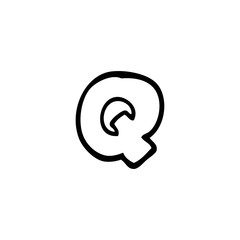 line drawing cartoon letter q
