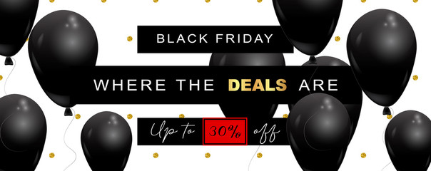 Black Friday Sale wide elegant banner, vector illustration. White background, with polka dot pattern made of glitter, offer text, black balloons flying in the air, graphic design elements.