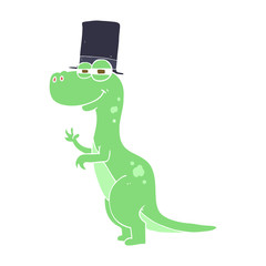 flat color illustration of a cartoon dinosaur wearing top hat