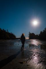 Sunset during blue hour at MacKenzie Beach, Tofino on Vancouver Island, British Columbia, Canada