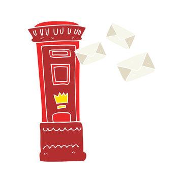 flat color illustration of a cartoon british post box