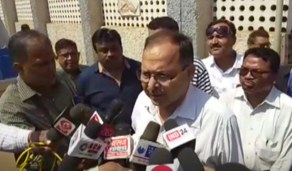 Bhilai District Collector, Umesh Kumar Agarwal speaks to the media after a blast at state-run SAIL's steel plant in Bhilai