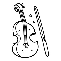 line drawing cartoon violin and bow