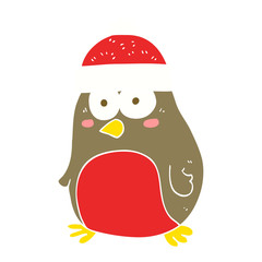 flat color illustration of a cartoon christmas robin
