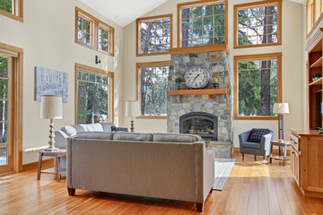 Chic living space with high vaulted ceiling and stone fireplace.