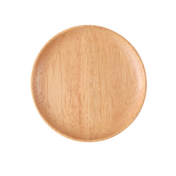 top view  empty wooden dishl  isolated on white background
