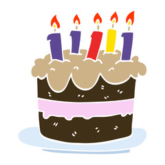 cartoon doodle birthday cake