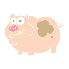 flat color illustration of a cartoon pig