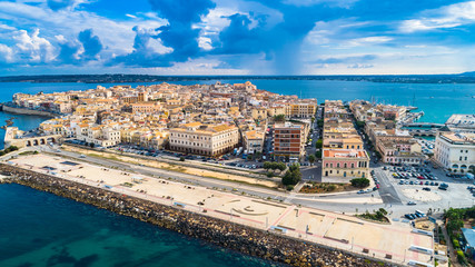 Aerial. Ortigia a small island which is the historical centre of the city of Syracuse, Sicily. Italy. Fototapete