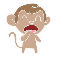 yawning flat color style cartoon monkey
