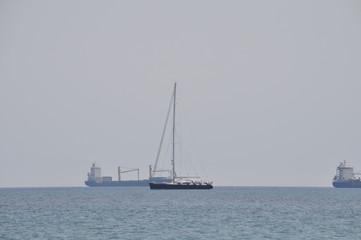 The beautiful Luxury yacht in open sea