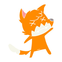 flat color style cartoon cross eyed fox