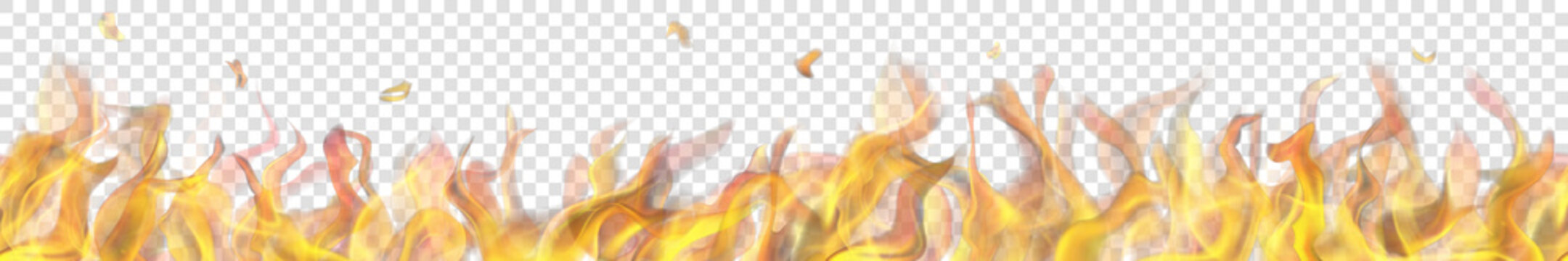 Translucent long fire flame with horizontal seamless repeat on transparent background. For used on light backgrounds. Transparency only in vector format