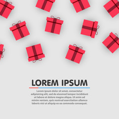 Pattern with colorful gift boxes. Paper present boxes. Christmas, new year or birthday concept. Vector illustration
