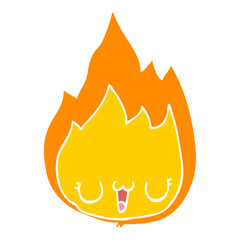 flat color style cartoon flame with face