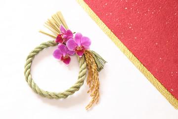 注連縄リースと胡蝶蘭の背景