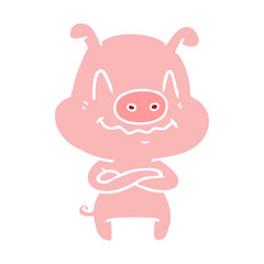 nervous flat color style cartoon pig