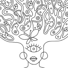 Vector black and white hand drawn illustration of psychedelic woman face with abstract tree, flowers, leaves, dots, butterfly, background Decorative artistic creative picture, line drawing.