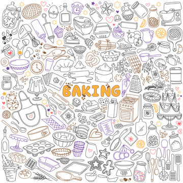 Baking doodles set. Bakery, confectionery and pastry stuff, tools, equipment and cooking ingredients. Hand drawn vector illustration isolated on white background