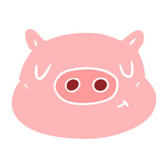 flat color style cartoon pig face
