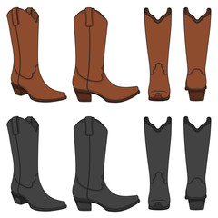 Set of color illustrations with cowboy boots. Isolated vector objects on white background.