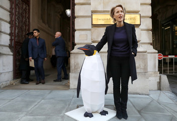 Actor Gillian Anderson poses for photographs outside the Foreign Office before handing in a petition calling for a large part of Antartica to be protected, in London