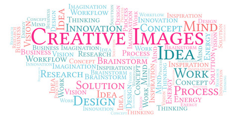 Creative Images word cloud, made with text only.