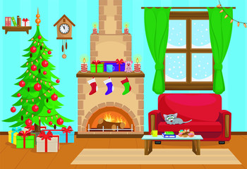 Vector illustration of Christmas living room with Christmas tree, gifts, sofa, table with treats and fireplace.