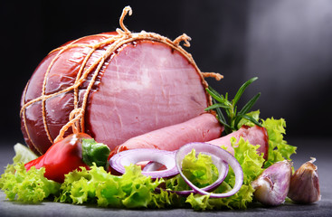 Composition with piece of ham. Meatworks products