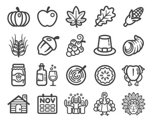thanksgiving Day thin line icon set