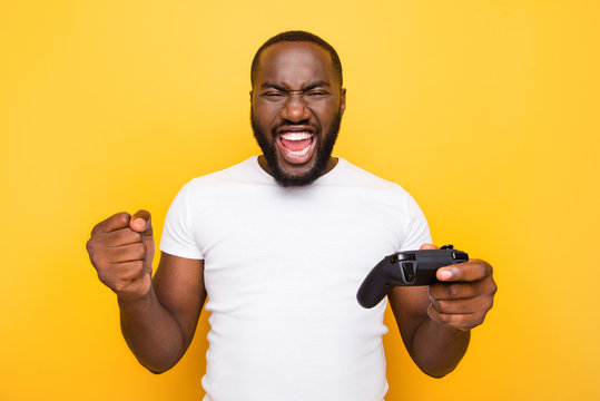 Portrait of shocked funny funky crazy excited delighted mulato m