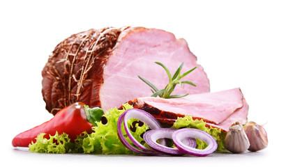 Piece of ham isolated on white background