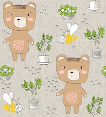 Vector cute seamless pattern with cartoon bears