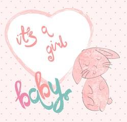 Cute hand drawn frame with cartoon bunny