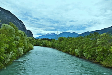 Wall Murals River Austrian Alps-the river Drava