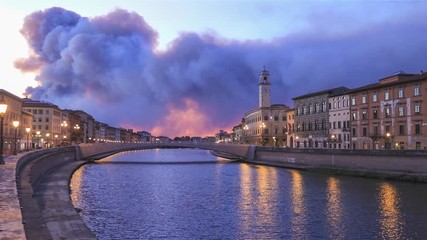 Fototapete - Ponte di Mezzo bridge over Arno river and Clock tower at dusk in Pisa, Italy