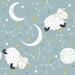 Seamless pattern with funny sheep and moon. Sweet dreams.