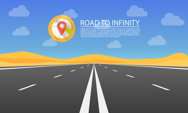 Road to infinity highway, Road in the desert, Vector illustration , Road background.