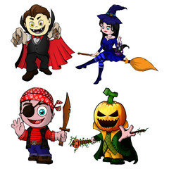 Set of cartoon characters for halloween. Vector illustration.