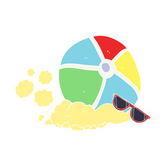 flat color illustration of a cartoon beach ball