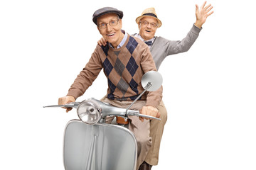 Two senior men on a vintage scooter, one waving