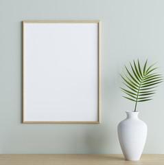 Mock up poster frame with plant in vase on shelf in interior background, 3d render