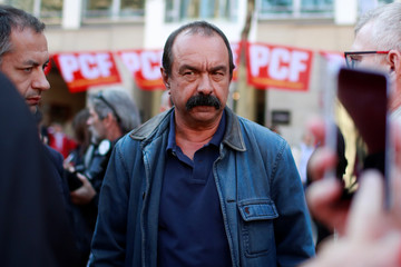 French CGT labour union leader Philippe Martinez is seen during a demonstration to protest against the French government's reforms in Paris