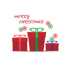 Three red gift boxes and the inscription Merry Christmas.