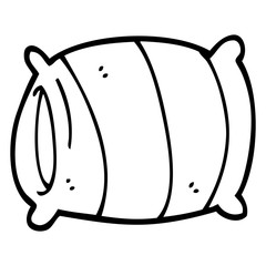 line drawing cartoon pillow