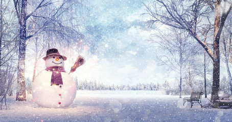 Snowman in the idyllic winters day, Christmas background 3D Rendering