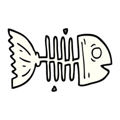 cartoon doodle fish bones