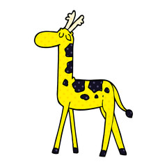 cartoon doodle walking giraffe